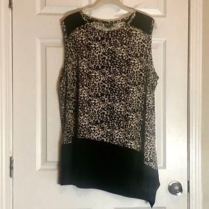 Vince Camuto 2X Cheetah Print Top/Tunic